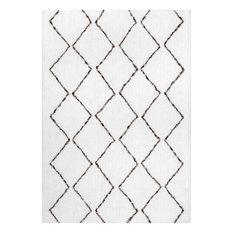 Hand-Tufted Geometric Moroccan Shag Rug, Natural, 9'x12'
