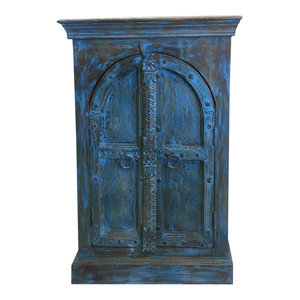 Mogul Interior - Consigned Antique Double Door Distressed Blue Side Table, Nightstand, Cabinet - Accent Chests And Cabinets