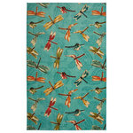 Mohawk - Mohawk Prismatic Summer Dragonflies Aqua Rug, 8'x10' - A modern multicolored medley of dragonflies soars over the teal aqua blue colored contemporary canvas of Mohawk Homes Summer Dragon Flies Area Rug.  Fun and fresh for kids corners or anywhere you crave a little more color, this whimsical nature inspired design is sure to wake up any space!  When it comes to color, the sky is no longer the limit with the infinite possibilities of Mohawk Homes revolutionary Prismatic Collection.  Thoughtfully crafted in the U.S.A. in small batches utilizing Mohawk Homes exclusive Precision Dye Injected Printer, the Prismatic Collection is redefining printed rugs, literally one original design at a time.  Each style in this collection features superior strength, stain resistance, and a cozy soft touch.  Consciously created with Everstrand yarn, Mohawk Homes exclusive premium recycled polyester produced from post-consumer plastic water bottles, this collection offers environmentally friendly options that are as easy on the eyes as they are the world around us.
