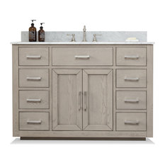 Grace Mid-century Bathroom Vanity with Sink, Carrara Marble Top, Antique Gray, 4