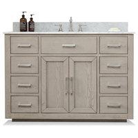 """Grace Mid-century Bathroom Vanity w/Sink, Carrara Marble Top, Antique Gray, 48"""""""