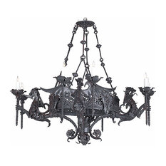 Dragon Candle-Style Wrought Iron Chandelier