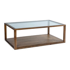 Large Rectangular Coffee Table With Glass Top, Dark Stain