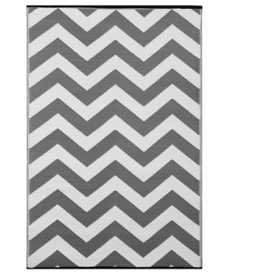 Psychedelia Indoor/Outdoor Rug, Grey and White, 90x150 cm