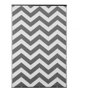 Psychedelia Indoor/Outdoor Rug, Grey and White, 90x150 cm
