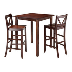 Winsome Wood Parkland 3 Piece High Table With 2 Bar V-Back Stools