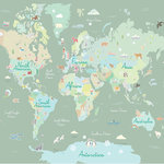 WallPops - Where In The World Peel & Stick Mural - Learning geography has never been more fun with this peel and stick mural. Pastel continents and engaging symbols representing something special about each place make this world map engaging and enjoyable! Where In The World Peel & Stick Mural contains 6 pieces on 6 sheets that measure 94 x 19.7 inches. World map peel and stick wall mural; Measures 9-ft 10-in by 7-ft 10-in when assembled; Comes in 6 sheets; Peel and stick to apply, pull up to remove; Safe for walls, leaves no sticky residue behind; Sticks to any smooth, flat surface.