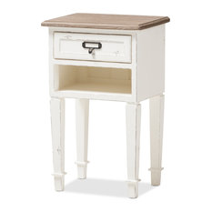 Dauphine Provincial Weathered Oak And White Distressed Finish Wood Nightstand