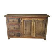 "Rustic Reclaimed Wood Vanity 2-Door 3-Drawer, Left Side Drawers, 48""x20""x32"""