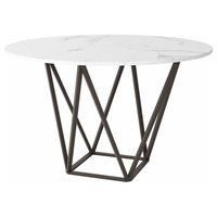 Zuo Faux Marble, Painted Metal Dining Table Stone, Brass