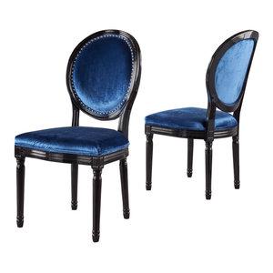 GDF Studio Landon Traditional New Velvet Dining Chairs, Navy Blue, Set of 2