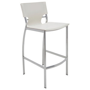 34.5 in. Upholstered Counter Stool in White
