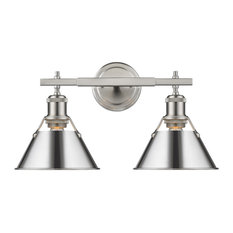 Orwell PW 2 Light Bath Vanity in Pewter with Chrome Shade