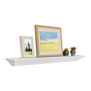 "Corona Crown Molding Floating Wall Shelf, 18"", White, 36"""