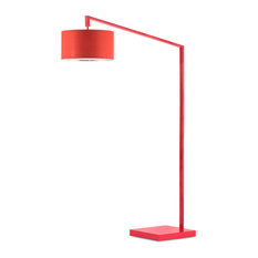 Nova Of California   Stretch Chairside Arc Lamp, Red   Floor Lamps