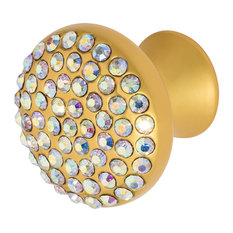 "Wisdom Stone Vivacite 1-1/4"" Satin Gold with Crystal Cabinet Knob, MultiColor"
