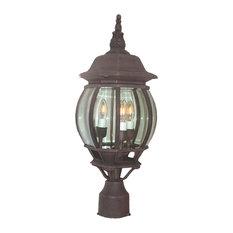 Basic Outdoor Post 3-Light Mount Light, Powder Coat Rust