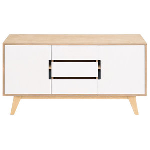 HUH Sideboard With Three Doors, Oak and White