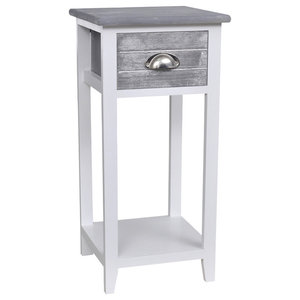 VidaXL Telephone Stand With 1 Drawer, Grey and White