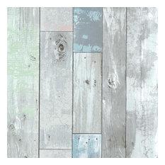 Dean Blue Distressed Wood Panel Wallpaper Bolt