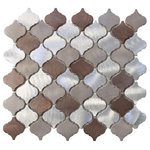 """Rocky Point Tile - Casablanca Brushed Aluminum Arabesque Mosaic Tile, Chip Size: 2""""x2"""", 12""""x12"""" She - A balanced blend of warmth and coolness make this tile an easy choice for the home. These are a smaller arabesque tile than our glass tiles. Each tile is made from brushed aluminum. Each tile piece is roughly 2"""" x 2"""" in size. Colors include silver, taupe, and copper brown."""