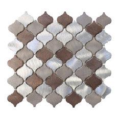 """Casablanca Brushed Aluminum Arabesque Mosaic Tile, Chip Size: 2""""x2"""", 12""""x12"""" She"""
