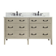"Avanity Delano 61"" Double Vanity, Taupe Glaze Finish, Carrera White Marble Top"