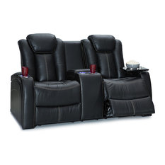 Seatcraft - Seatcraft Republic Leather Home Theater Seating Power Loveseat, Black - Theater Seating
