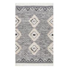 "nuLOOM Hand Woven Wool Savannah Moroccan Fringe Area Rug, Gray, 9'6""x13'6"""