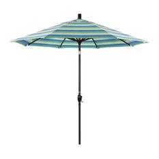 9' Bronze Push-Button Tilt Crank Aluminum Umbrella, Seville Seaside Sunbrella