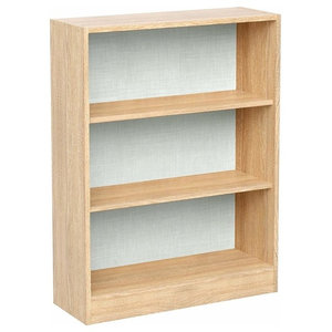 Modern Stylish Bookcase, Particle Board With 3 Open Compartments, Golden Oak