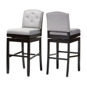 Ginaro Modern Gray Fabric Button-Tufted Upholstered Swivel Bar Stool, Set of 2
