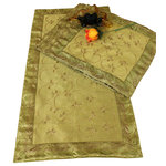 Banarsi Designs - Hand Embroidered 5-Piece Night Table Placemat Set, Dark Gold - Discover our decorative, beautiful, and luxurious hand embroidered 5-piece night table placemat set from our exclusive Banarsi Designs collection.