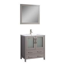 "Vanity Art Single Vanity Set With Ceramic Top, Gray, Standard Mirror, 30"""