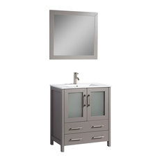 "30"" Single Sink Vanity Set With Ceramic Top, Gray, Standard Mirror"