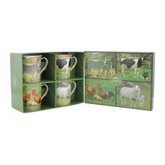 4-Piece Set Farm Yard Animal Mugs