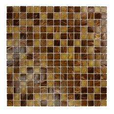 "12.88""x12.88"" Glass Tile Blends Venetian Series, Brown Gold Copper Blend"