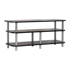 Tv Entertainment Stand Silver Metal Pillars With Black Painted MDF Shelves