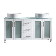 """Tuscany 60"""" White Double Vanity With Vessel Sink, Without Mirror"""