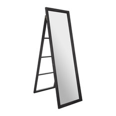"""22""""x70"""" Classic Full Length Wood Ladder Standing Mirror With Easel, Black"""