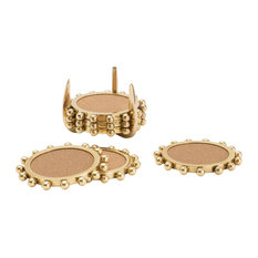 7-Piece Star Burst Crown Shape Gold Coaster and Caddy Set