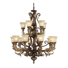 Regency 15-Light Chandelier, Burnt Bronze