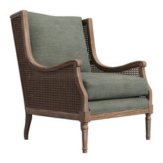 1st Avenue   Peoria Wingback Rattan Accent Chair, Gray Fabric   Armchairs  And Accent Chairs