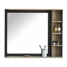 - Miroir rectangulaire de salle de bains en acacia massif 90cm - Miroir de Salle de Bain