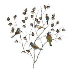 Beaux Arts Branch With Birds Metal Wall Art, 75x82 cm