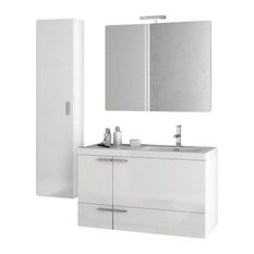 "39"" Glossy White Bathroom Vanity Set"