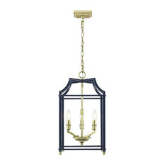 Navy pendant lighting houzz golden lighting golden lighting leighton pw 3 light pendant navy blue satin aloadofball