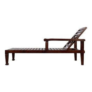 solid teak wood recliner chaise lounge chair dark wood finish by
