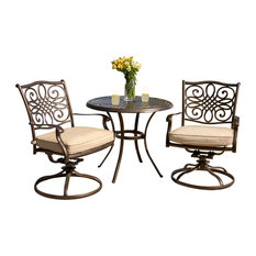 """3-Piece Bistro Dining Set With 2 Alumicast Swivel Rockers and a 32"""" Round Table"""
