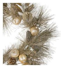 "24"" Glitter Champagne Gold Pomegranate Apple Pine Cone and Berry Wreath"